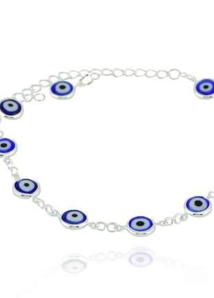 Pulseira de olho grego azul prata