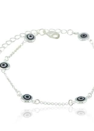 Pulseira de olho grego branco prata