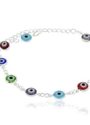 Pulseira de olho grego colorida prata