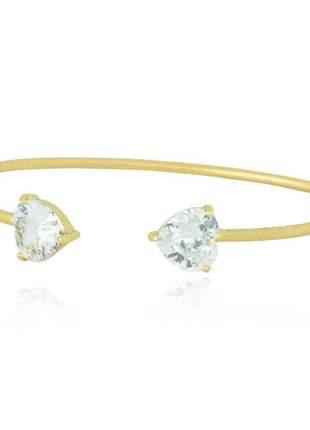Pulseira bracelete coração dourado