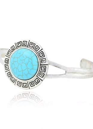 Pulseira bracelete boho chic pedra turquesa prata