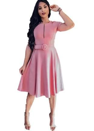 Vestido feminino+cinto incluso moda evangélica gospel rodado godê princesa promoção