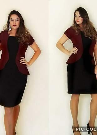Vestido executivo moda evangélica com colete sobreposto luxo igreja oferta