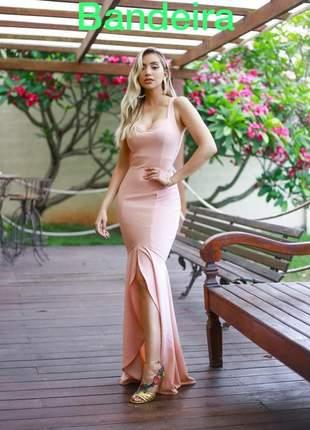 Vestido rosa rose longo festa madrinha de casamento formatura