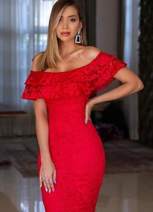 Vestido vermelho longo festa renda madrinha de casamento formatura