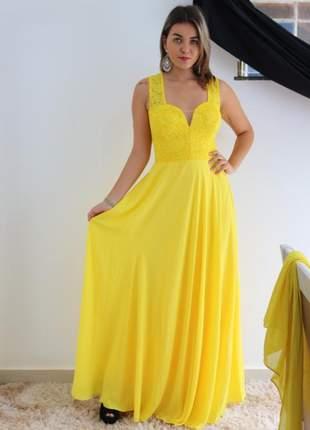 Vestido de festa amarelo longo aniversário casamento madrinha formanda