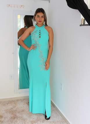 Vestido madrinha longo azul tiffany com detalhe em flor bordada festas noite luxo