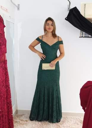 Vestido verde escuro de festa longo renda bojo forro zíper madrinha formanda