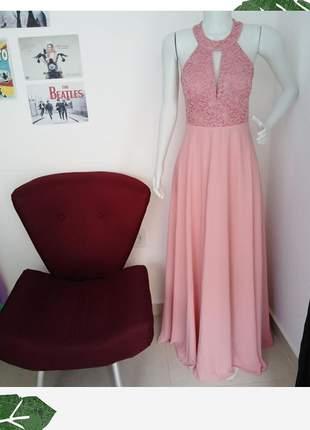 Vestido de festa marsala e rosê madrinha formanda longo bojo casamento bodas 15 anos