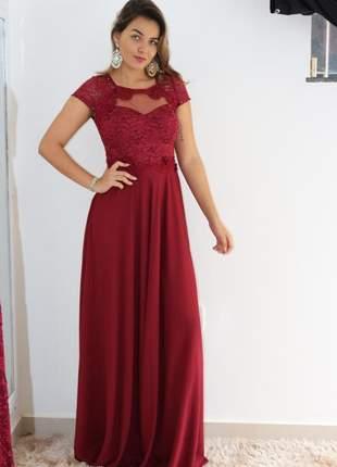 Vestido marsala e rosê de festa madrinha casamento formanda longo luxo