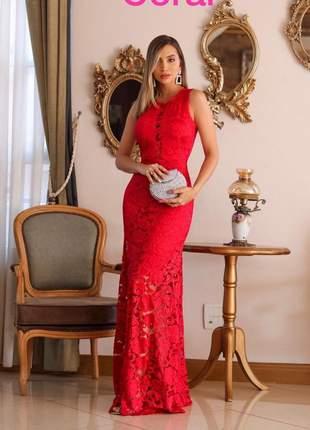 Vestido de festa vermelho longo formatura baile madrinha de casamento