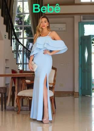 Vestido festa longo azul serenity azul bebê azul celeste madrinha de casamento formatura