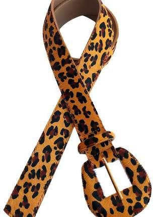 Cinto feminino animal print onça couro legítimo super tendencia 2019