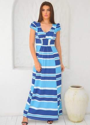 Vestido longo em listras / tecido viscolycra