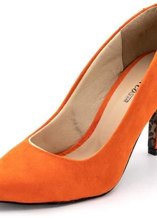 Sapato scarpin salto medio fino camurça laranja