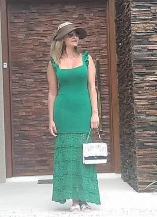 Vestido longo bandagem com tricot na barra, alças babado, cor verde esmeralda.