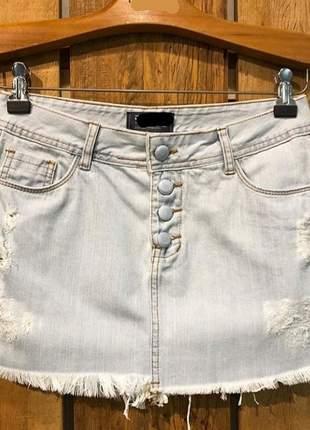 Saia jeans com botao forrado!