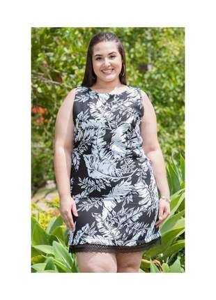 7863- vestido plus size preto e branco
