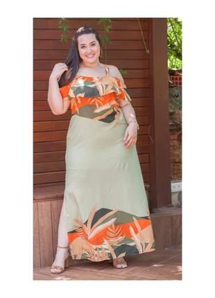 7866- vestido longo plus size em viscose