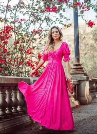 Vestido longo pink princesa mangas bufantes tecido importado ryon maquinetado.