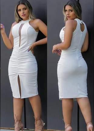 Vestido branco modelo colado detalhe em tule ref 732