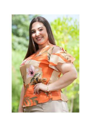 7826- blusa plus size em viscose com amarração