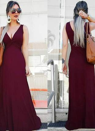 Vestido longo decote v