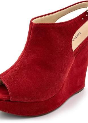 Sandália anabela boot salto plataforma nobucado vermelho