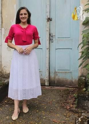 Saia em renda gode branca longuete roupas evangelicas