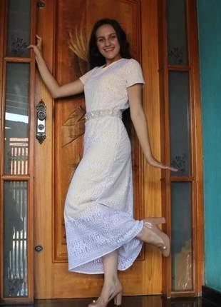 Vestido em renda longuete roupas evangelicas