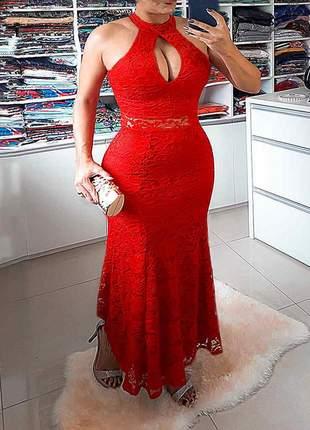 Vestido festa longo renda vermelho