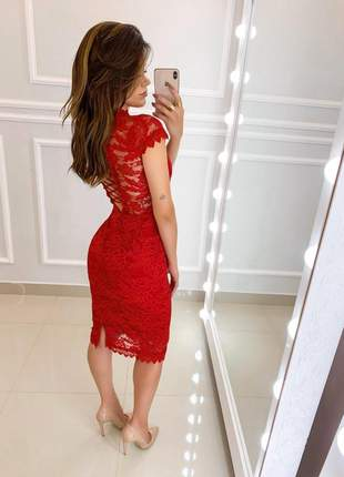 Vestido vermelho midi renda festa