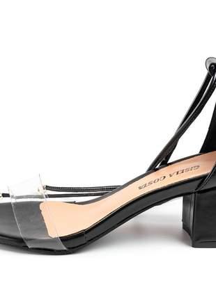 Sandália salto grosso médio em napa preta transparencia