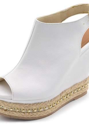 Sandália anabela boot salto plataforma napa branca