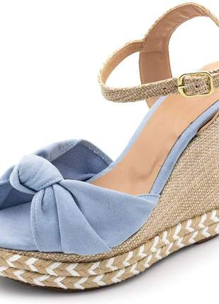 Sandália anabela modelo nó azul bebe salto plataforma juta