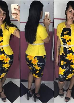 Kit 3 vestidos midi amarelo moda evangélica igreja gospel festividades promoção
