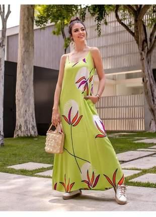 Vestido longo viscolinho estampa maxi tropical.