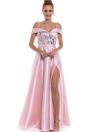 Vestido festa madrinha formatura rosa bordado com fenda