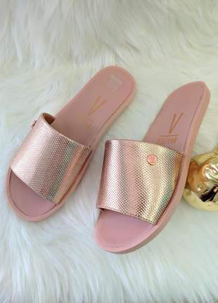 Chinelo vizzano slide feminino napa trapa ouro rosado