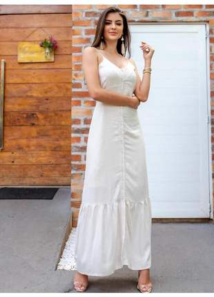 Vestido longo branco em lurex brilhante alças finas.