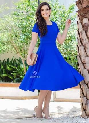 Vestido princesa godê midi lady like rodado vintage azul royal