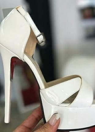 Sandálias femininas plataforma salto fino coleção noivas