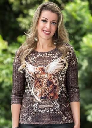 Blusa são miguel arcanjo bordada com pedras - coleção ágape