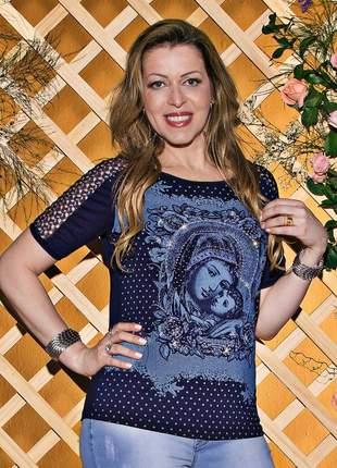 Blusa mãe imaculada bordada e renda - coleção ágape