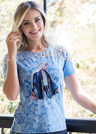 Blusa nossa senhora das graças bordada e renda- coleção ágape