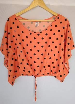 Compre 2 e pague 1 blusinhas blusas femininas top cropped estampa poá bolinha