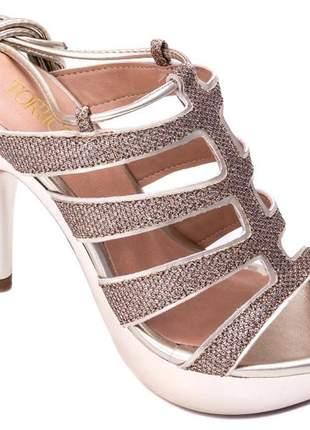 Sandália meia pata  gliter ouro