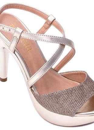 Sandália meia pata  gliter ouro e napa ouro