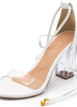 Sandália social tira transparente salto grosso branca amarrar na perna
