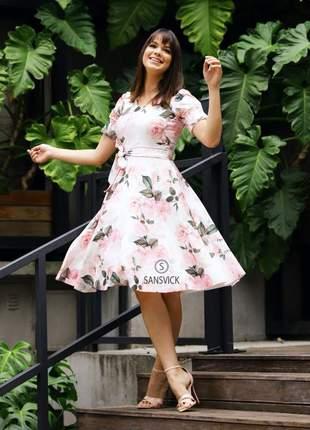 Vestido princesa godê rodado rosas com cinto